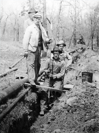 G. W. Griffiths (front - right) John's grandfather working on an oil pipeline in East Texas, circa 1933